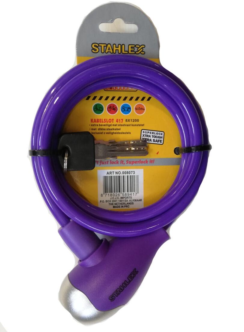 Lucchetto cavo antifurto per bicicletta di alta qualità con doppia chiave, ideale per bambini (VIOLA)