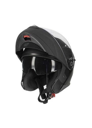 Casco modulare Kappa per moto e scooter in materiale termoplastico nero opaco con doppia visiera