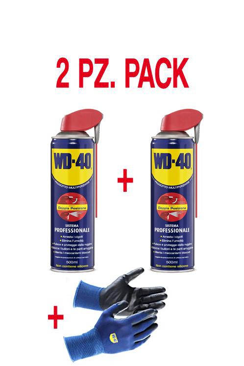 WD-40 lubrificante spray multifunzione - set di 2 pezzi con guanti WD-40
