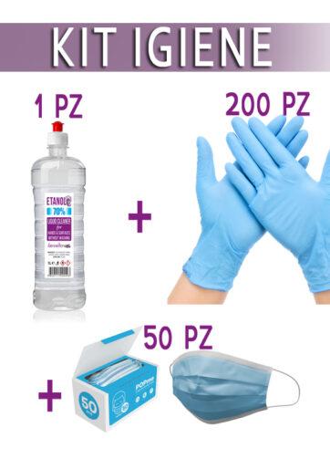 Kit protezione: 200 Guanti + 50 Mascherine + 1lt Gel igienizzante