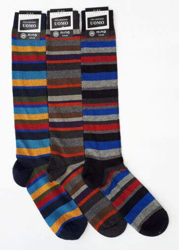 Calze gambaletto per uomo made in Italy a righe multicolore taglia unica 40 - 45