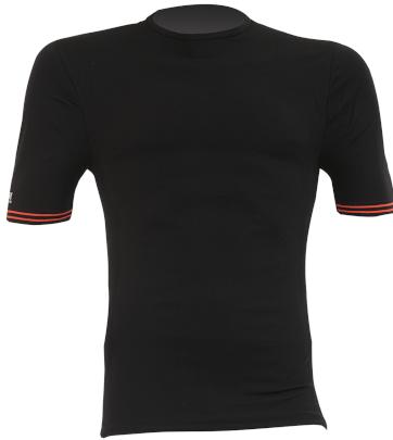 Maglia moto, bici e running tecnica sportiva a maniche corte nera con bordi arancioni sulla manica XTECH