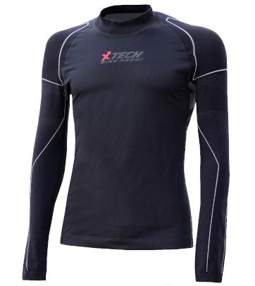 Maglia moto, bici e running tecnica sportiva antivento invernale a maniche lunghe blu XTECH