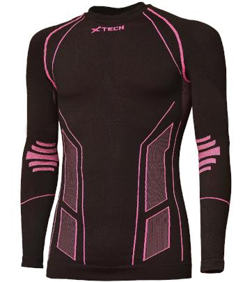 Maglia moto, bici e running tecnica sportiva antivento invernale a maniche lunghe girocollo nera e rosa donna XTECH