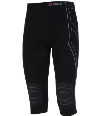 Pantaloni moto, bici e running tecnici sportivi antivento invernali neri lunghezza 3/4 XTECH