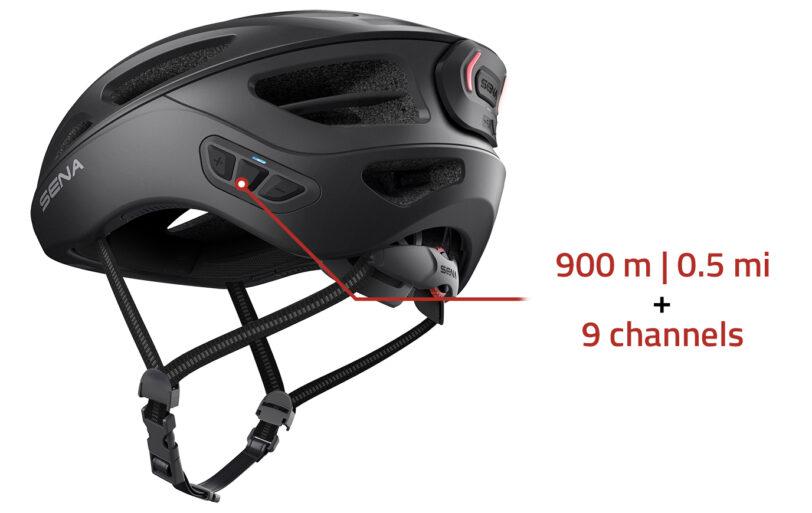 Casco bici Sena R1 EVO con interfono, radio, connessione al cellulare, comandi vocali e luci di posizione